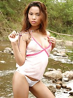 Thai Cutie Amara Plays Naked In River