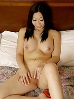 Breasty Ting Strips Undies & Bares Shaved Pussy