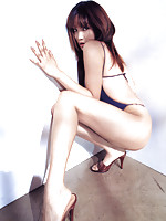 Eriko Sato Asian glamour babe in her tight swimsuit
