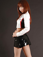 Foxy asian babe looks incredibly sexy in her black mini skirt