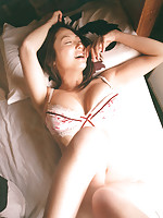 Petite asian model with soft skin and a firm round bottom in lace