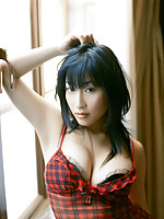 Luscious gravure idol with soft plump boobs in tight lingerie