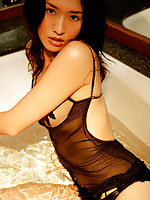 Steamy asian babe is orgasmic with her perfect tits in lingerie