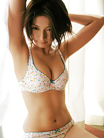 Seductive asian chick is hot in pink lingerie and her short hair