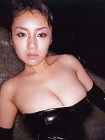 Busty asian beauty can barely hold her melons in lace lingerie