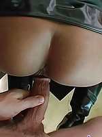 Petite Asian girl in rubber mini skirt is fucked doggie style