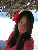 Sexy amateur Asian girls having a good time at the beach