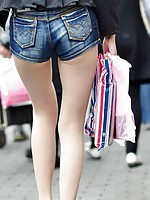 A leggy Chinese babe in her very short short pants