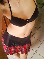 Chinese babe in sexy short plaid skirt
