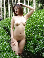 Two sexy China girls taking nude pictures outdoors