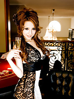 Incredibly gorgeous gravure idol in a black lace mini dress