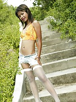 Tussinee walks up the stairway to heaven in tiny jean shorts