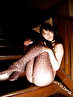 Sexy asian kitten looks incredible in her skin tight leather