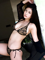 Stacked asian hottie has deliciously big boobs in a bikini