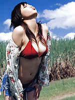 Tantilizing asian beauty exhibits her delicious body in a bikini