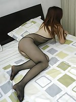 Asian girls look so sexy in fishnet stockings