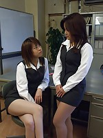 Naughty Japanese lesbian teens having sex at the office
