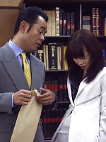 Japanese teenie girl gets punished by her own horny boss