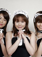 Three dirty Japanese maids sharing two stiff tiny cocks