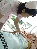 Naughty Japanese teen nurse sucking a patient for his cum