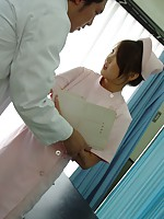 Bizarre doctor measuring a tight Japanese pussy with toys