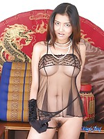 Thai babe in black silky lingerie