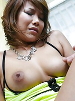 Teasing babe Akiho Nishimura gets her bush cock-filled