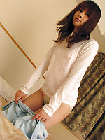 Skinny Japanese teen shows body and craves sex