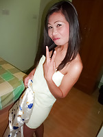 Mature Thai with bald pussy rims and gets condom trickery