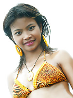 18 year old Thai teen in tiger bikini at the beach flashes all her naughty parts