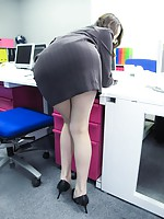 Leggy secretary Ibuki squirts out a load during hot sex
