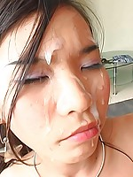 Slim Thai gf gets fucked hard and a facial