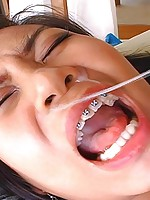 Thai slut gets pounded hard then opens wide for a mouthful