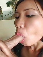 Brunette sucks and fucks for a mouthful of cum