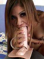 Long haired thai cutie strips and rides the sybian to climax