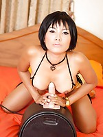 Firm tit thai model masturbating with the sybian