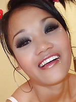Pigtail petite slut Preaw sucks good, gets fucked and facialed.