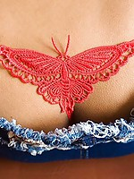Asian teen Lily Koh in red thong butterfly panty