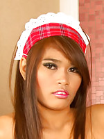Thai Shelly stripping maid outfit