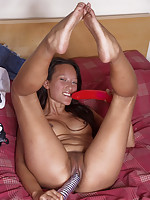 Ayla Sky playing with giant dildos