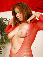 Mai Ly ripping her bodystocking