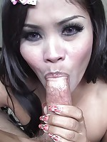Hot Thai slut sucks cock and gets a creampie