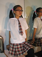Sexy Chapala strips from her school uniform to finger her pussy