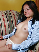 Chubby 18 year old cutie stripping to flash her almost hairless pussy