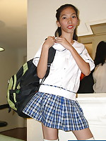 Student stripping from her school uniform to show her salivating privates