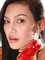 Thai model in red offers close-ups of her yummy holes