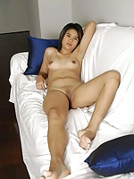 18 year old Thai bargirl proudly flashing her shaved coochie