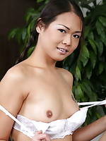 Sexy student in pigtails stripping and flashing her mouth watering bald slit