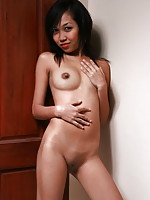 Tall 19 year old student shyly stripping to show her adorable peach