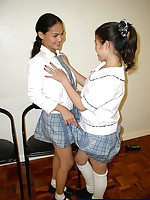 Two lonely schoolgirls tongue and finger their mouth watering pussies